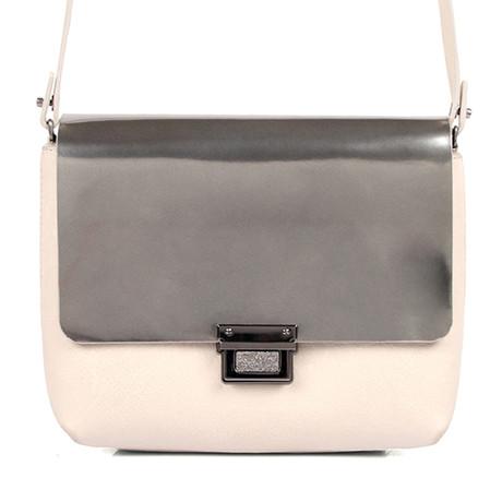 Leather Clutch // Silver, Cream