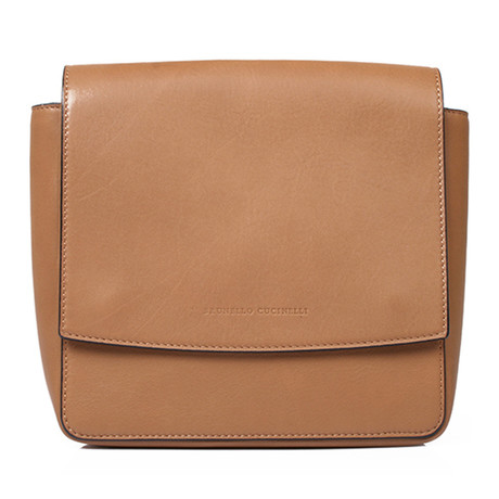 Leather Handbag + Strap // Beige