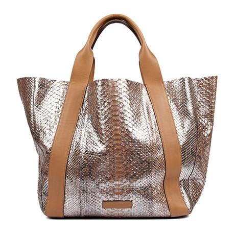 Python Shoulder Handbag // Silver