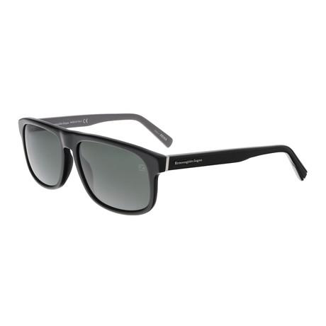 Men's EZ0003 Sunglasses // Shiny Black + Green