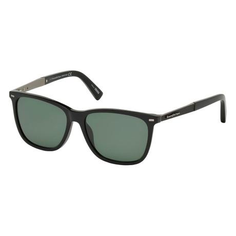 Men's EZ0023 Polarized Sunglasses // Shiny Black + Green