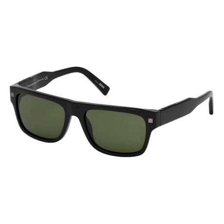Men's EZ0088 Sunglasses // Shiny Black + Green