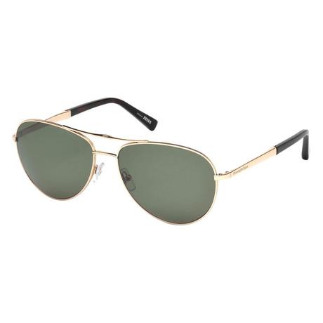 Men's EZ0035 Polarized Sunglasses // Shiny Rose Gold + Green
