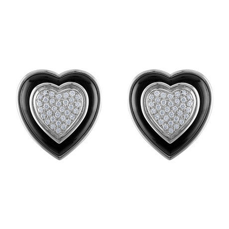 Estate 18k White Gold Heart Diamond Earrings