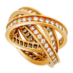 Vintage Cartier 18k Yellow Gold Trinity Diamond Ring // Ring Size: 4.75