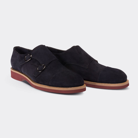 Zander Monk Strap Shoes // Navy Blue (Euro: 38)