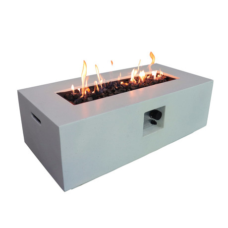 "Propane/Natural Gas Fire Pit Table // 42"" Rectangular // Cast Concrete (Natural Concrete)"