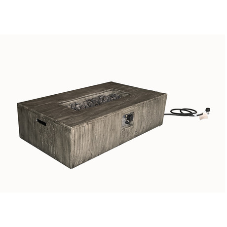 "Propane/Natural Gas Fire Pit Table // 48"" Rectangular // Cast Concrete"