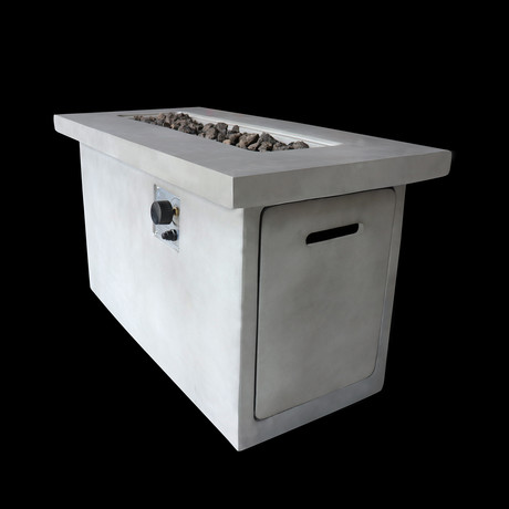 "Propane/Natural Gas Fire Pit Table // 42"" Internal Tank Rectangular // Cast Concrete (Natural Concrete)"