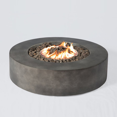 "Propane/Natural Gas Fire Pit Table // 36"" Round // Cast Concrete (Natural Concrete)"