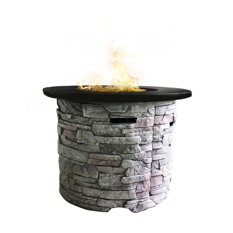 "Propane/Natural Gas Fire Pit Table // 32"" Marble Top // Cast Stone"