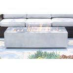 "Propane/Natural Gas Fire Pit Table // 56"" Rectangular // Cast Concrete (Charcoal)"
