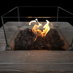 "Gas Fire Pit Table // 30"" Internal Tank // Steel Base and Cast Wood Top"