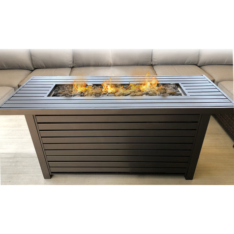 "Propane Gas Fire Pit Table // 54"" Internal Tank // Steel (Grey)"