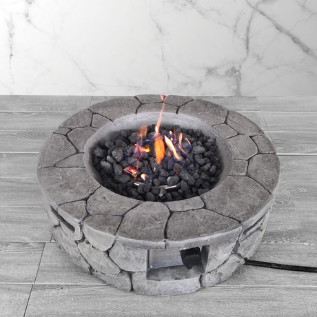 "Propane/Natural Gas Fire Pit Table // 28"" Round // Cast Concrete"