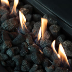"Propane/Natural Gas Fire Pit Table // 42"" Internal Tank Rectangular // Cast Concrete (Natural Concrete)"