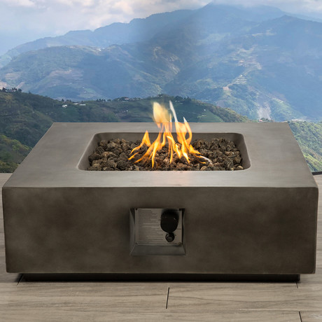 "Propane/Natural Gas Fire Pit Table // 34"" Square // Cast Concrete (Natural Concrete)"