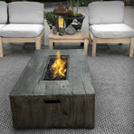 "Propane/Natural Gas Fire Pit Table // 48"" Rectangular // Cast Concrete"