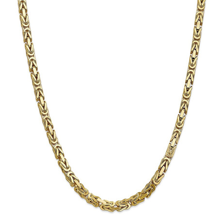 """Solid 10K Yellow Gold Hollow Byzantine Chain Necklace // 3.0mm (20"""")"""