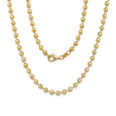 Solid 10K Yellow Gold Moon Cut Chain Necklace // 2.5mm
