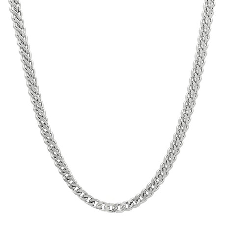 Solid 10K White Gold Hollow Franco Chain Necklace // 3.0mm