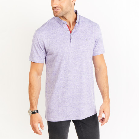 Alexandre Short Sleeve Polo Shirt // Light Purple + White (Small)