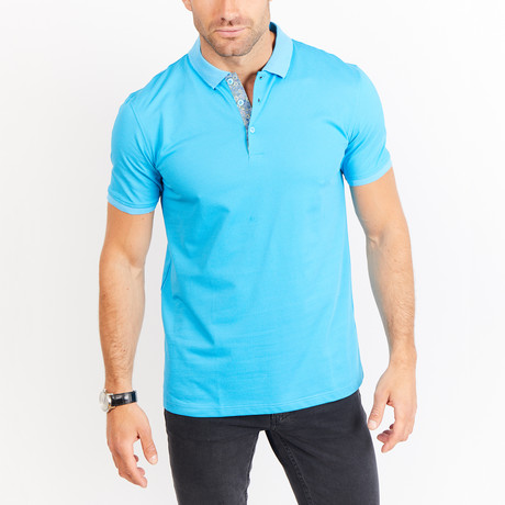 Adam Short Sleeve Polo Shirt // Turquoise Blue (Small)