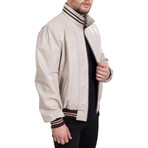 Leather Jacket // Beige+Brown (3XL)