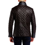 Quilted Snap Button Jacket // Brown (M)