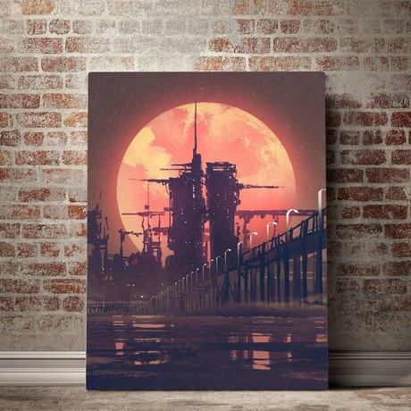 Red Moon Rise Canvas Set (Small // 1 Panel)