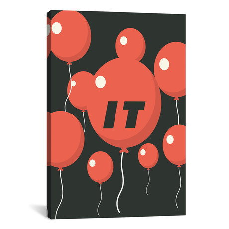 "It Minimalist Poster // Balloon Float // Popate (26""W x 18""H x 0.75""D)"