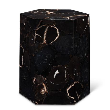 Hexagon Petrified Wood Stool (Vinegar)