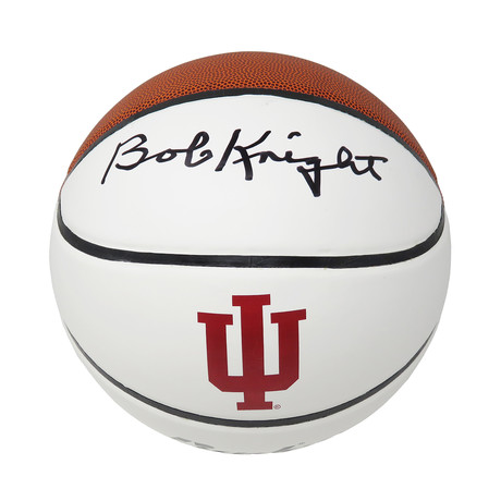 Bobby Knight Signed Indiana Hoosiers Baden White Logo Basketball