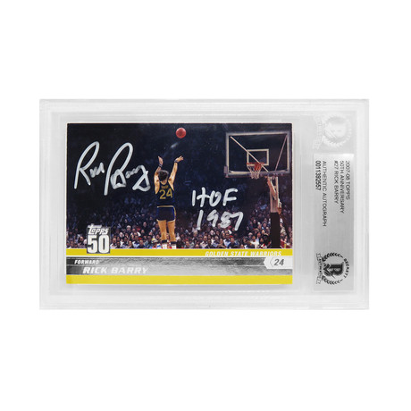 Rick Barry Signed Golden State Warriors 2007-08 Topps 50th Anniversary Basketball Card #27 with HOF 1987