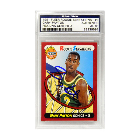 Gary Payton Signed Seattle Supersonics 1991 Fleer Rookie Sensations Trading Card #9 - (PSA Encapsulated)