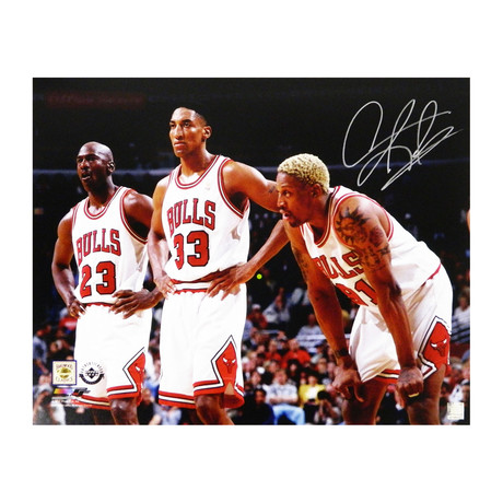 "Dennis Rodman Signed Chicago Bulls with Michael Jordan & Scottie Pippen Photo // 16"" x 20"""