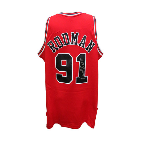 Dennis Rodman Signed Chicago Bulls Red Mitchell & Ness NBA Swingman Basketball Jersey