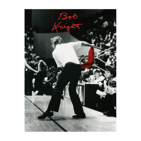 "Bobby Knight Signed Indiana B&W Throwing Red Chair Photo // 16"" x 20"" // Red"