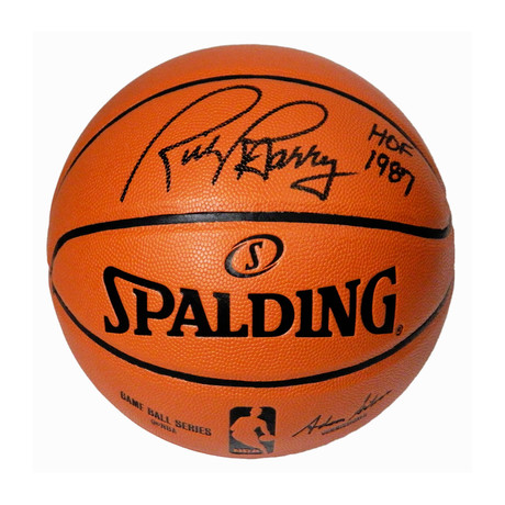 Rick Barry Signed Spalding NBA Game Replica Basketball with HOF 1987