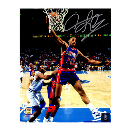 "Dennis Rodman Signed Detroit Pistons Rebound Action Photo // 8"" x 10"""