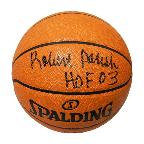 Robert Parish Signed Spalding Game Series Replica NBA Basketball with HOF'03