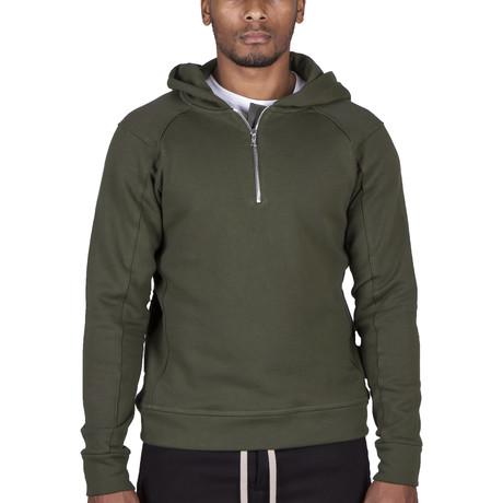 The Lionize Half Zip Hoodie // Military Green (XS)