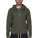 The Lionize Half Zip Hoodie // Military Green (L)