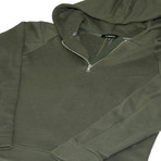 The Lionize Half Zip Hoodie // Military Green (M)