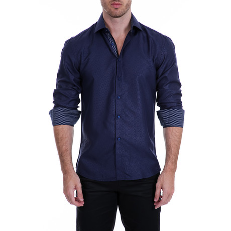 Davidson Long-Sleeve Button-Up Shirt // Navy (S)