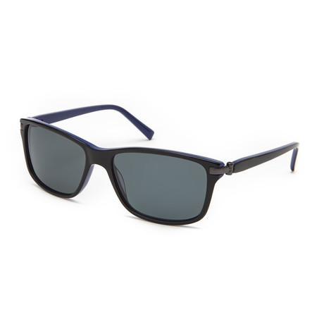 George Rectangle Polarized Sunglasses // Black + Blue