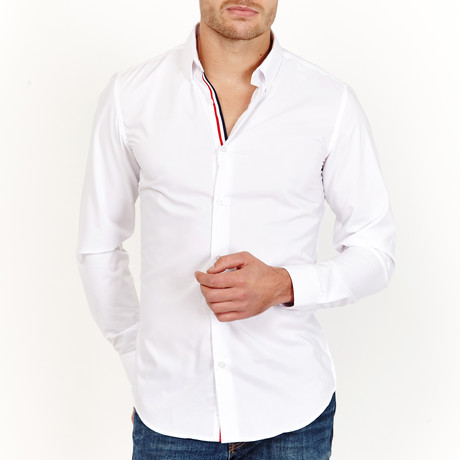 Jaxon Long Sleeve Button-Up Shirt // White + Red (Large)