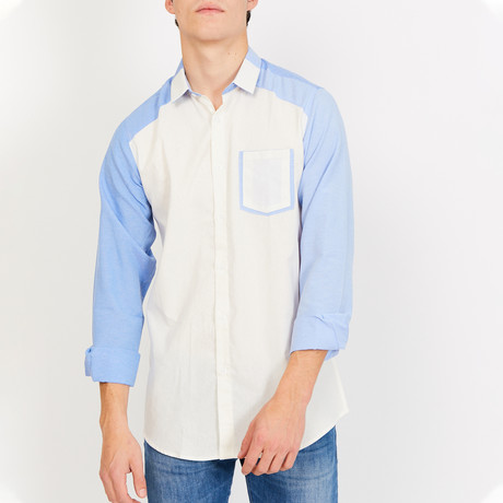 Xavier Long Sleeve Button-Up Shirt // Cream + Blue (Small)