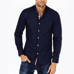 David Long Sleeve Button-Up Shirt // Black + White + Red (Large)