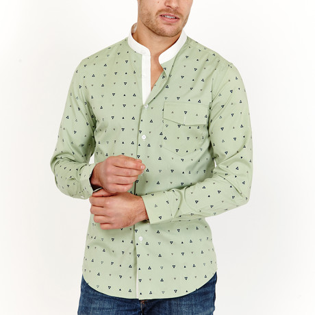 Luke Long Sleeve Button-Up Shirt // Olive Green + Black (Large)
